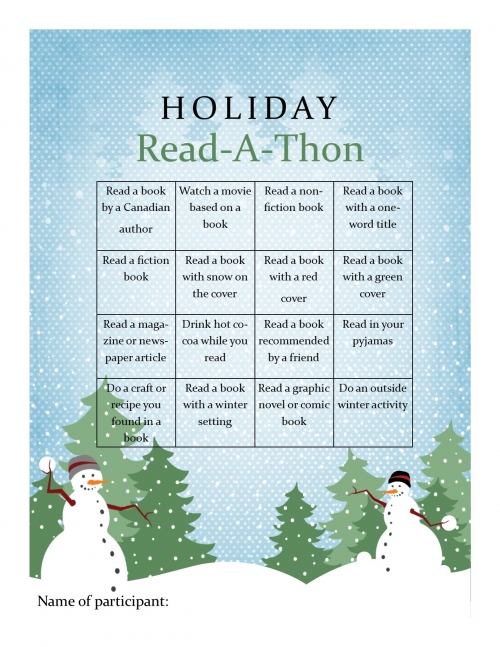 Readathon bingo card